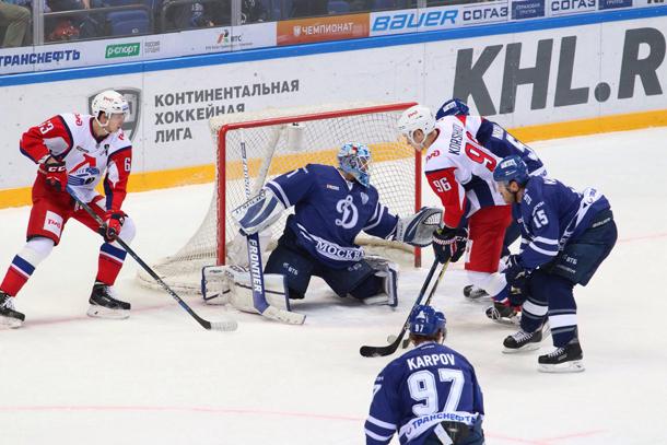 Хоккеисты «Динамо» (Москва) вдополнительное время обыграли «Локомотив» вматче КХЛ